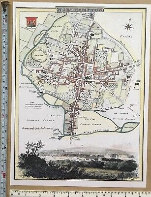 Vintage antique map Northampton, England: early 1800's Cole & Roper Reprint