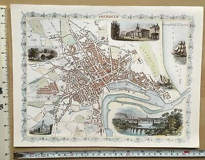 "Old Antique colour map Aberdeen, Scotland: 1800's, 1851: 12 x 9"" Tallis reprint"