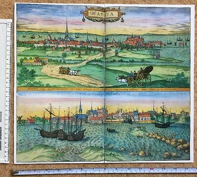 Old Colour Map of Copenhagen, Denmark: 1588 by Braun & Hogenberg REPRINT 1500's