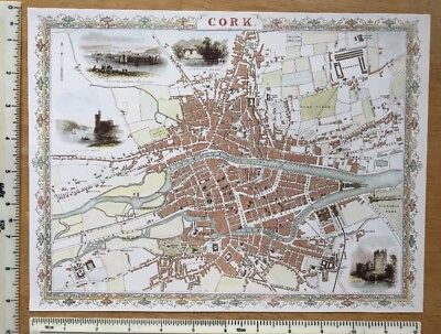 """Old Antique colour map of Cork, Ireland: 1800's, 1851 12"""" x 9"""" Reproduction"""