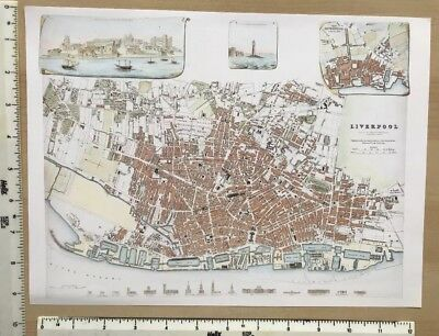 "Old Antique colour map of Liverpool, England: early 1800's: 12"" x 9 SDUK Reprint"
