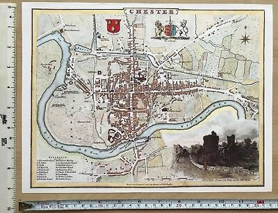 """Old Vintage antique map Chester, England: 1830s Cole & Roper 12"""" x 9"""" Reprint"""