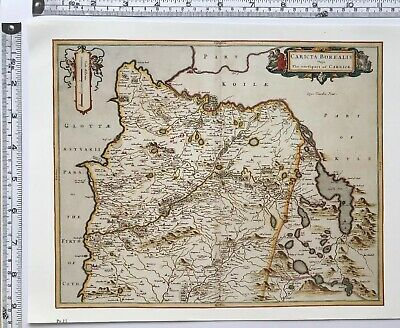 Historic Antique vintage Old Map of Mid Ayrshire, Girvan Scotland 1600's REPRINT