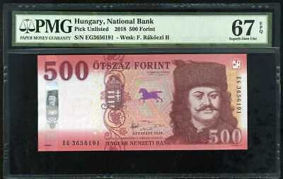 Hungary 500 Forint 2018 P New Superb Gem Unc Pmg 67 Epq