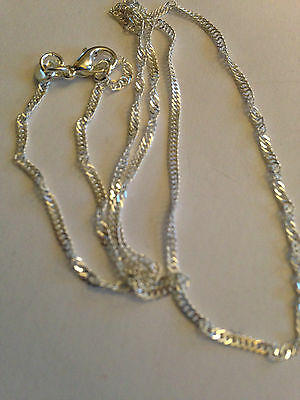 "1mm Sterling Silver Twisted Snake Chain necklace pendant 16-24"" 925 Stamped T"