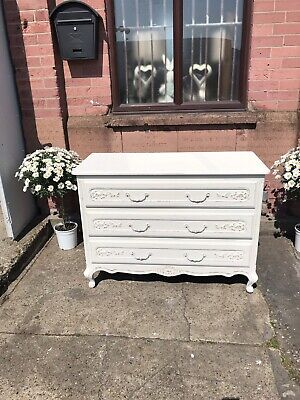 Large French Louis Vintage Shabby Chic  Painted Ivory Chest Of Drawers