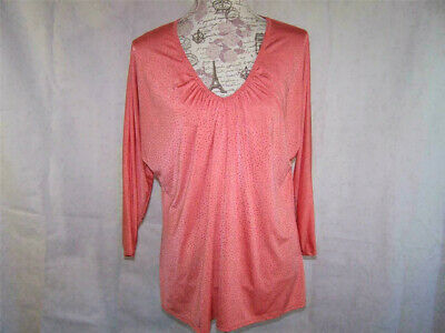 4a87628c16 Reba Shirt Top Womens XL Textured Orange Coral 3 4 Dolman Sleeves Stretch