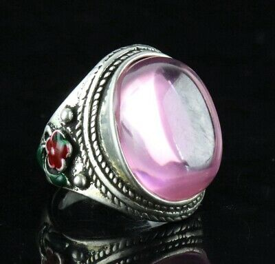 Collect Old Tibet Silver Cloisonne Carve Flower Inlay Zircon Noble Decor Ring