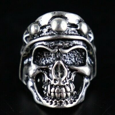 Collect China Antique Tibet Silver Carve Vicious Skull Exorcism Auspicious Ring