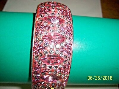 Swarovski Crystal Wide Bangles In Pinks (Your Choice Of One Style Bangle)