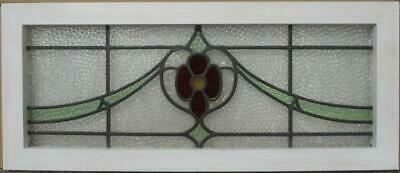 "OLD ENGLISH LEADED STAINED GLASS WINDOW TRANSOM Nice Floral Sweep 31.75"" x 13.5"""