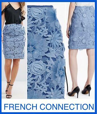 ef056668af69e Nwt French Connection 2/Xs$200 Lace 3D Pencil Skirt Blue Floral New Tags  Manzoni