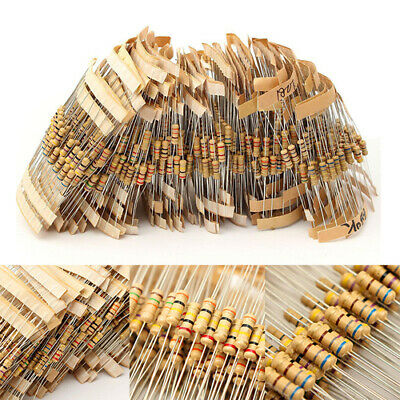 1000Pcs 100 Values 1/2W Assorted Carbon Film Resistors Assortment Kit 1Ω~10MΩ GL