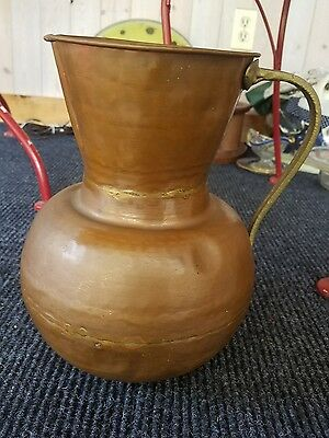 unique vintage arts and crafts hammered copper pitcher w/brass handle