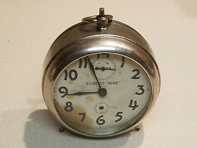 Vintage Clock 'Gilbert Nine' WM Clock Company Winsted, Conn. Alarm -Sold as is