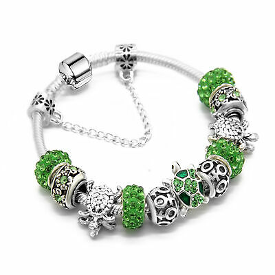 Women's Vintage Silver Green Cystal Beads Bracelet With Turtle Cuff Charm Bangle