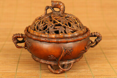 antique Chinese old boxwood hand carved bamboo incense burner