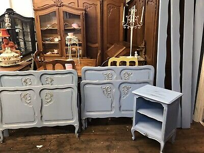 Gorgeous Pair Of Original Painted French Single Carved Beds Painted