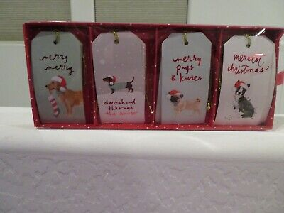 Christmas Holiday Die Cut Gift Tags DACHSHUND Through the Snow NEW - Pug Terrier