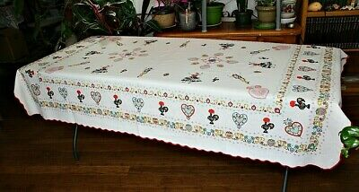 """Cotton Tablecloth White Red Blue Black Folk Dancers Hearts Roosters ~ 78"""" x 53"""""""