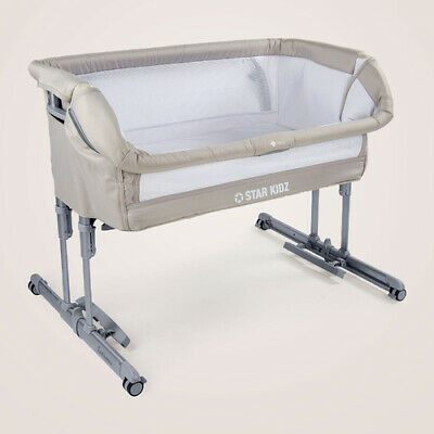Star Kidz 2019 Intimo Deluxe Baby Bedside Bassinet - Silver Cloud
