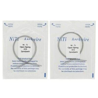 2 Pc Dental Orthodontic Open Coil Springs NiTi Alloy 010 012 180mm Elastic Ortho
