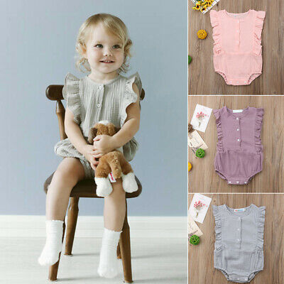 Summer Cotton Newborn Baby Girl Ruffle Sleeveless Romper Jumpsuit Outfit Clothes