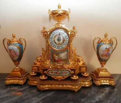 Rare Ormolu Quality  Frech Clock set with sevres Candle vases C1855 Japy Freres