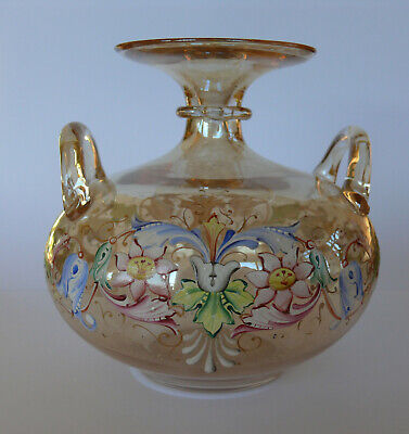 Antique overlay Lustre hand painted glass vase