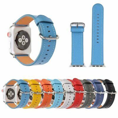 Classic Soft  Leather Band  Strap Bracelet for Apple Watch iWatch Series 5 4 3 2