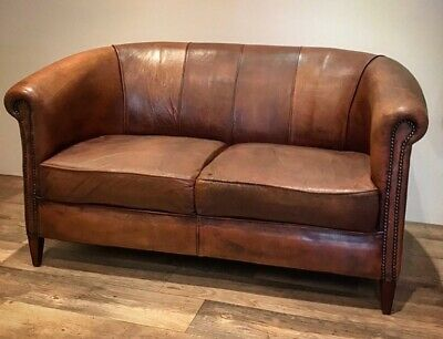 Vintage Dutch Sheepskin Leather Sofa