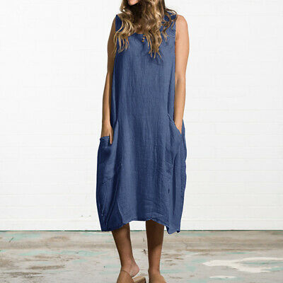 Female Dress Cotton Linen Simple Sleeveless With Pockets Holiday Midi Dress 6A