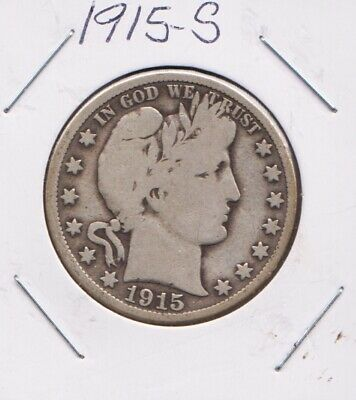 1915-S   BARBER HALF DOLLAR    90 % SILVER   G To VG  CONDITION   FREE SHIPPING!