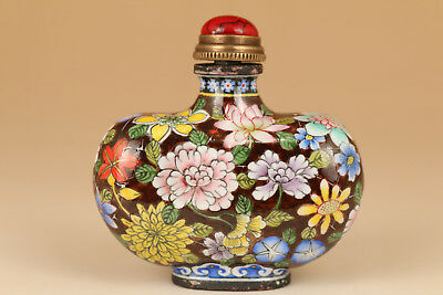 Big chinese Enamels cloisonne hand painting flower statue royal snuff bottle