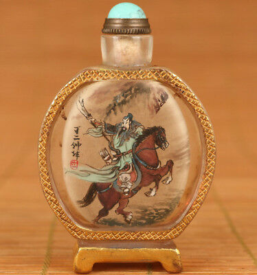 ancient chinese Glass Hand Inside Painting Guangyu Hero Statue Snuff Bottle
