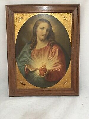 Vintage Religious Art Jesus Christ Sacred Heart Framed Collectable GC