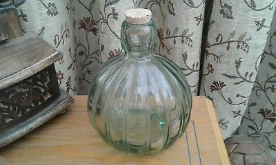COLLECTABLE.......PALE GREEN,,,..BOTTLE...with CORK..EXCELLENT CONDITION.