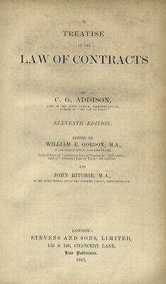 A treatise on the law of contracts. Eleventh edition.