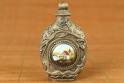 unque chinese old copper mechanical movement snuff bottle watch clock home deco