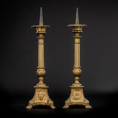 Candlestick Pair | Two Church Candle Holders | 2 Antique Gilded Metal | 18""