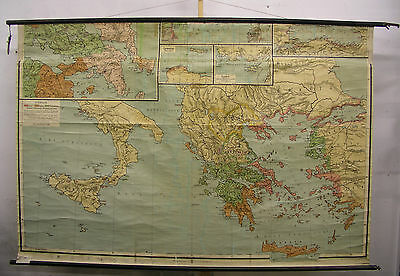 Schulwandkarte Old Map Greeks Antique Athens Hellas 219x146 Vintage ~ 1915 Map