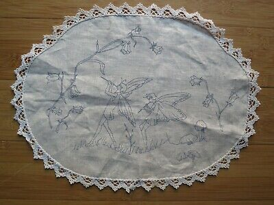 Large vintage unworked Doily – Traced linen - fairies and flowers - embroidery