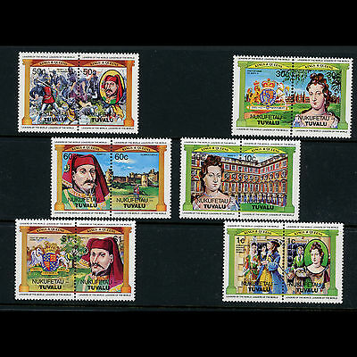 TUVALU Kings & Queens. Royalty. 6 Pairs (12 Values). Mint Never Hinged. (AT213)
