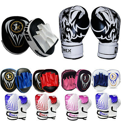 Boxing Pads With Sparring Gloves Rex Leather MMA Muay Thai Hook and Jab Kick