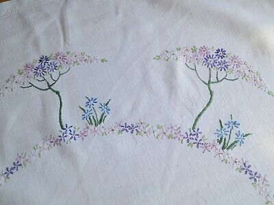 Hand-embroidered tablecloth – floral design  – pure linen – very good condition