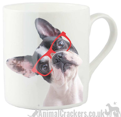 French Bulldog red glasses spectacles Fine China Mug Frenchie lover gift, boxed