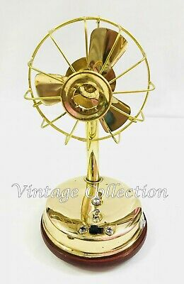 Handmade Brass Fully Working Electric Fan with 3 blades Collectibles Table Fan