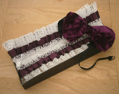 VINTAGE 1970s LARGE WINE VELVET BOW TIE & WHITE /WINE EVENING SHIRT FRILL IN BOX