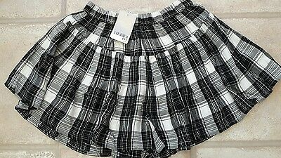 Brand New Girls Next Black and White Checked Floaty Shorts 8 Years