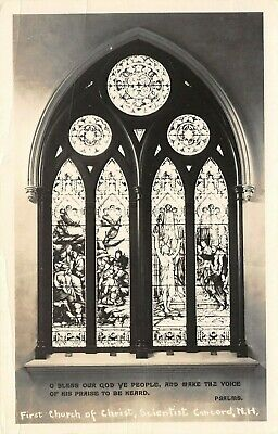 Concord New Hampshire~First Church Of Christ~Stained Glass Windows~c1950s RPPC